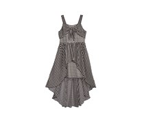 Sequin Hearts Knot-Front Gingham Maxi Dress, Black/White