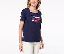 Alfred Dunner Petite Americana Embellished Flag Top, Navy