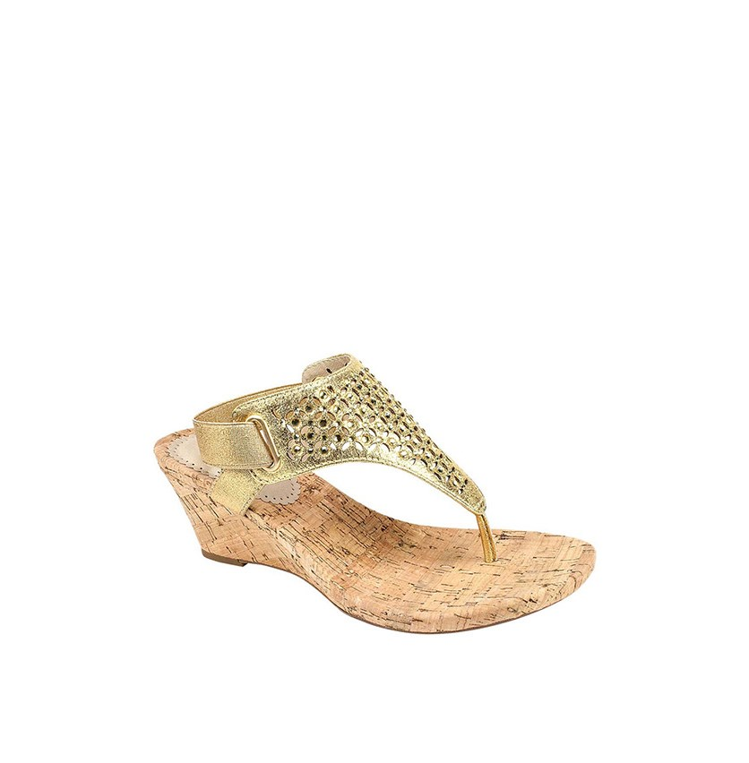 Arnette Embellished Wedge Sandal, Gold
