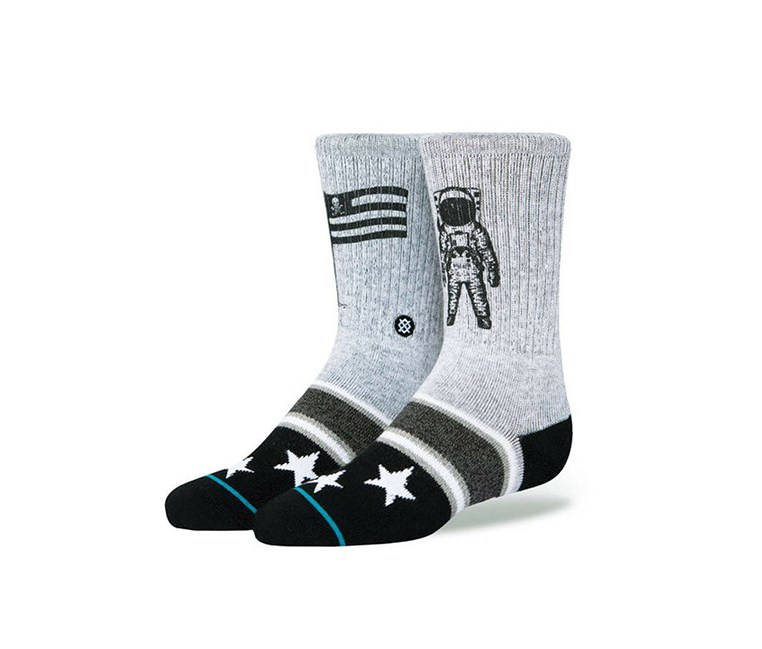 Boy's Landed K Socks, Grey/Black