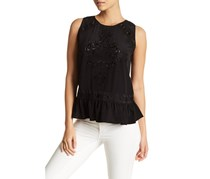 Nicole Miller Embroidered Top, Black