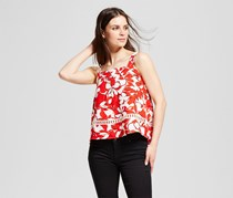 J by J.O.A. Women's Floral Print Cami, White/Red