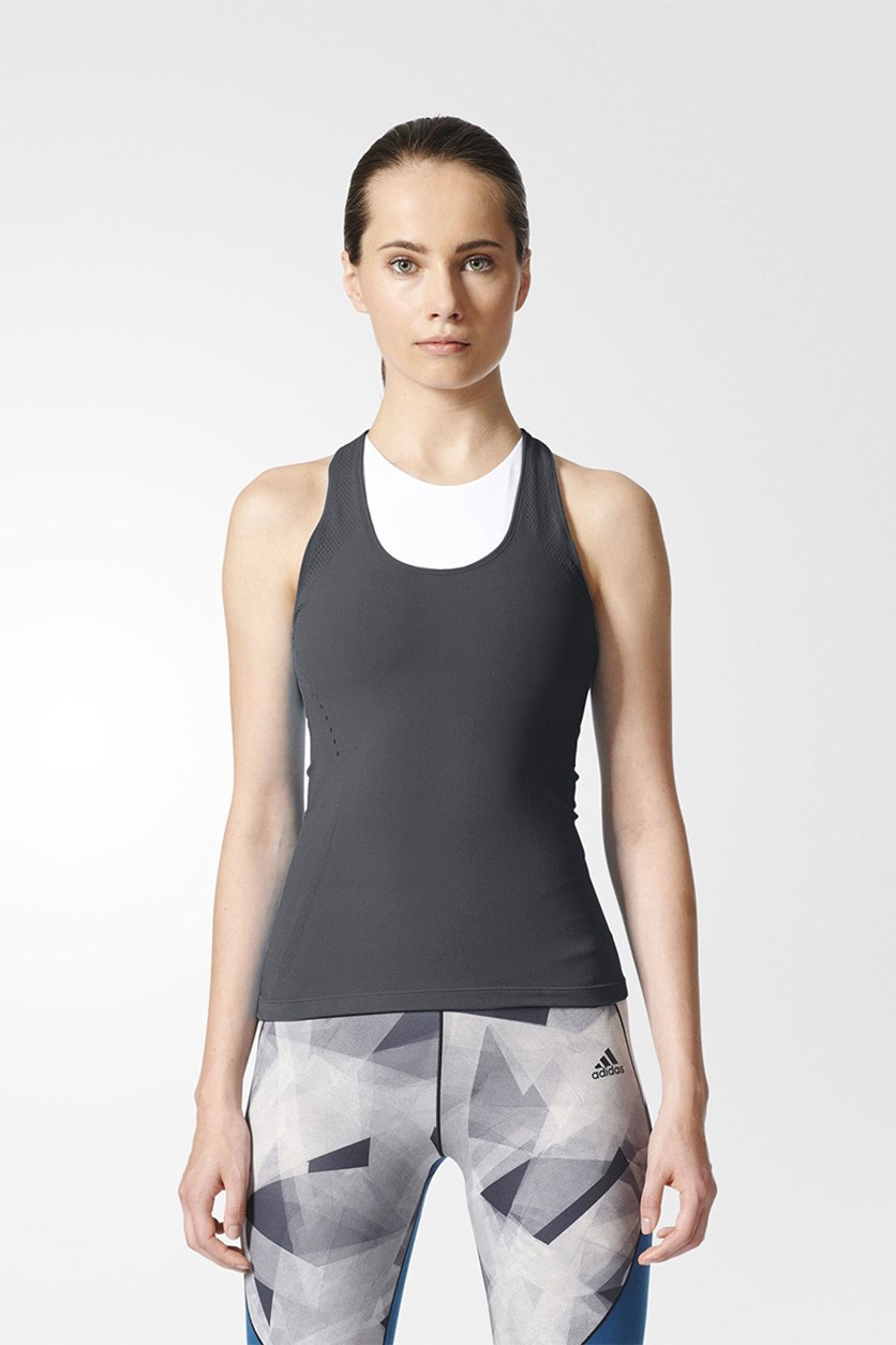 Warp Knit Tank Top, Grey