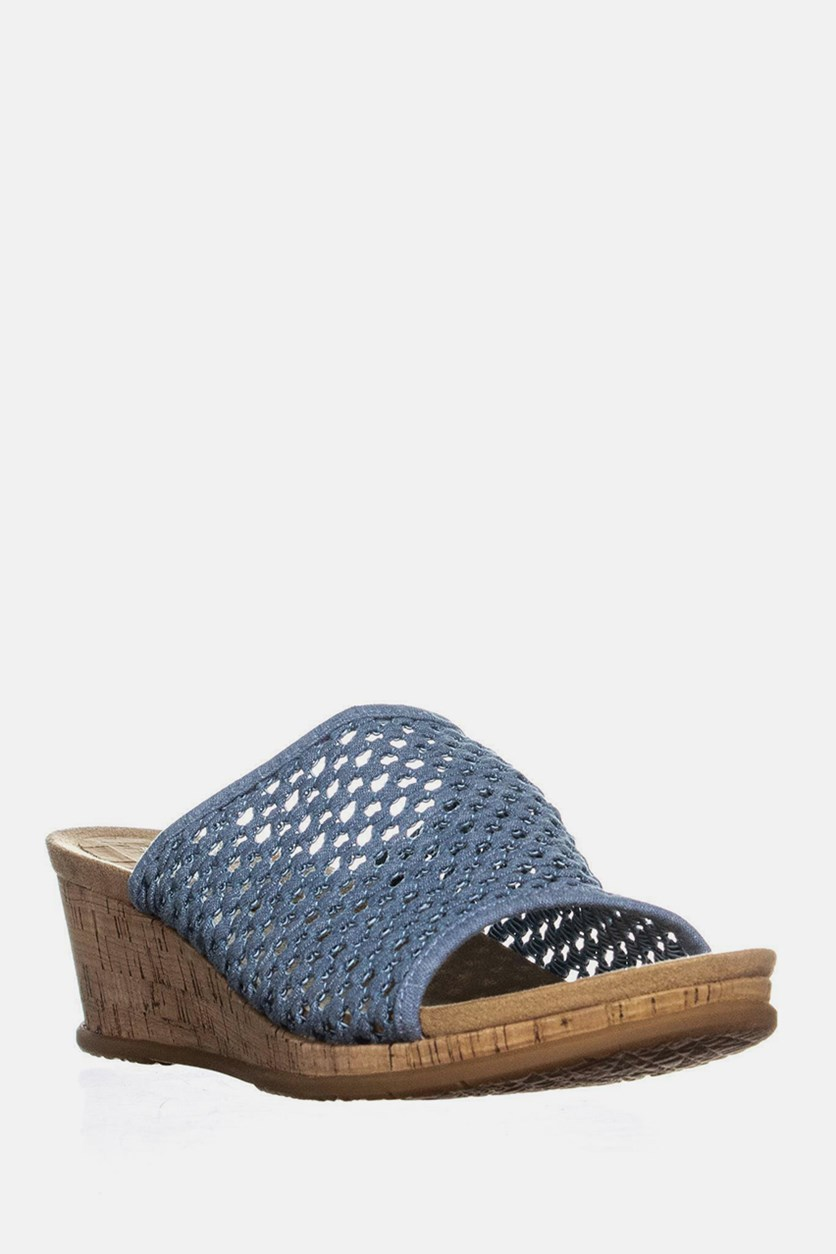 Women's Flossey Wedge Sandals, Washed Denim
