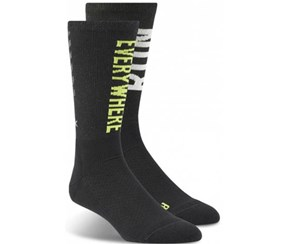 Reebok Men's Running Crew Socks, Black/Green