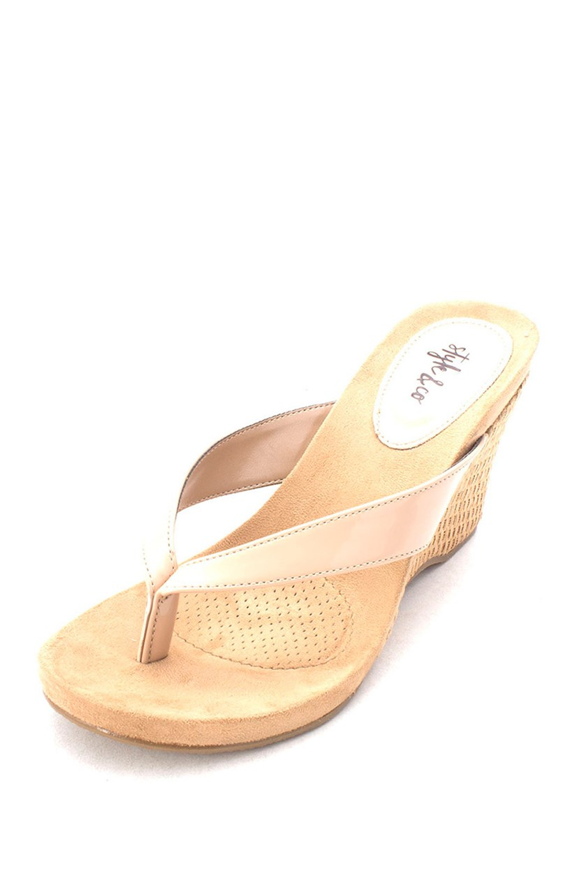 Women's Chicklet Wedge Sandals, Nude