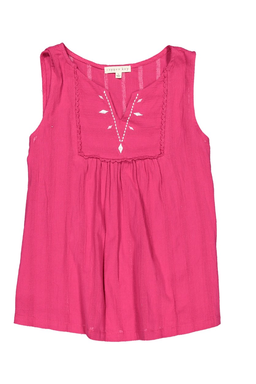 Girl's Embroidered Top, Pink