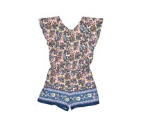 Copper Key Girl's Floral Romper, Blue Combo