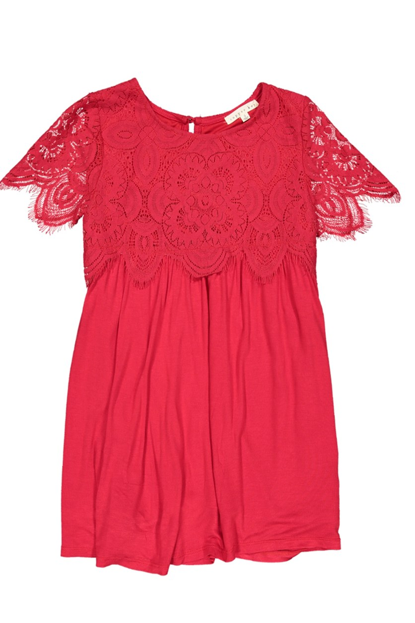 Girl's Lace Dress, Red
