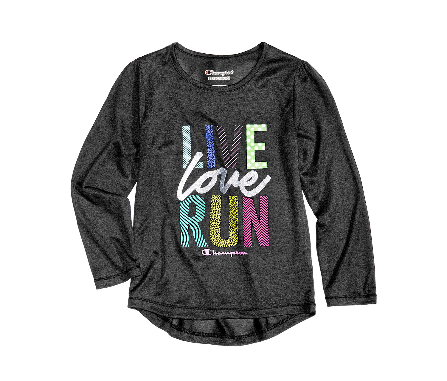 Little Girl's Live, Love, Run Graphic-Print T-Shirt, Black Heather