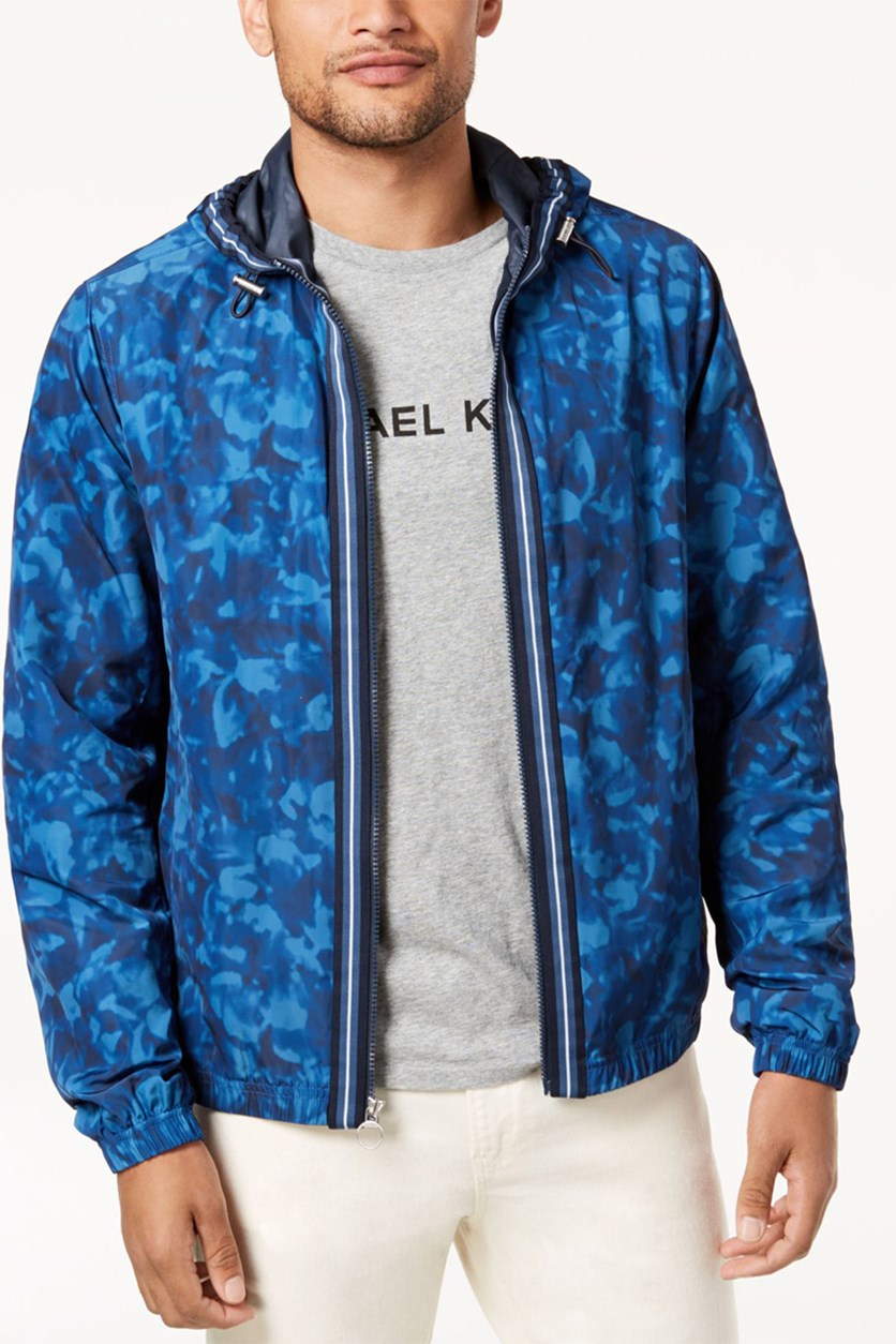 Mens Floral Camo-Print Hooded Jacket, Midnight