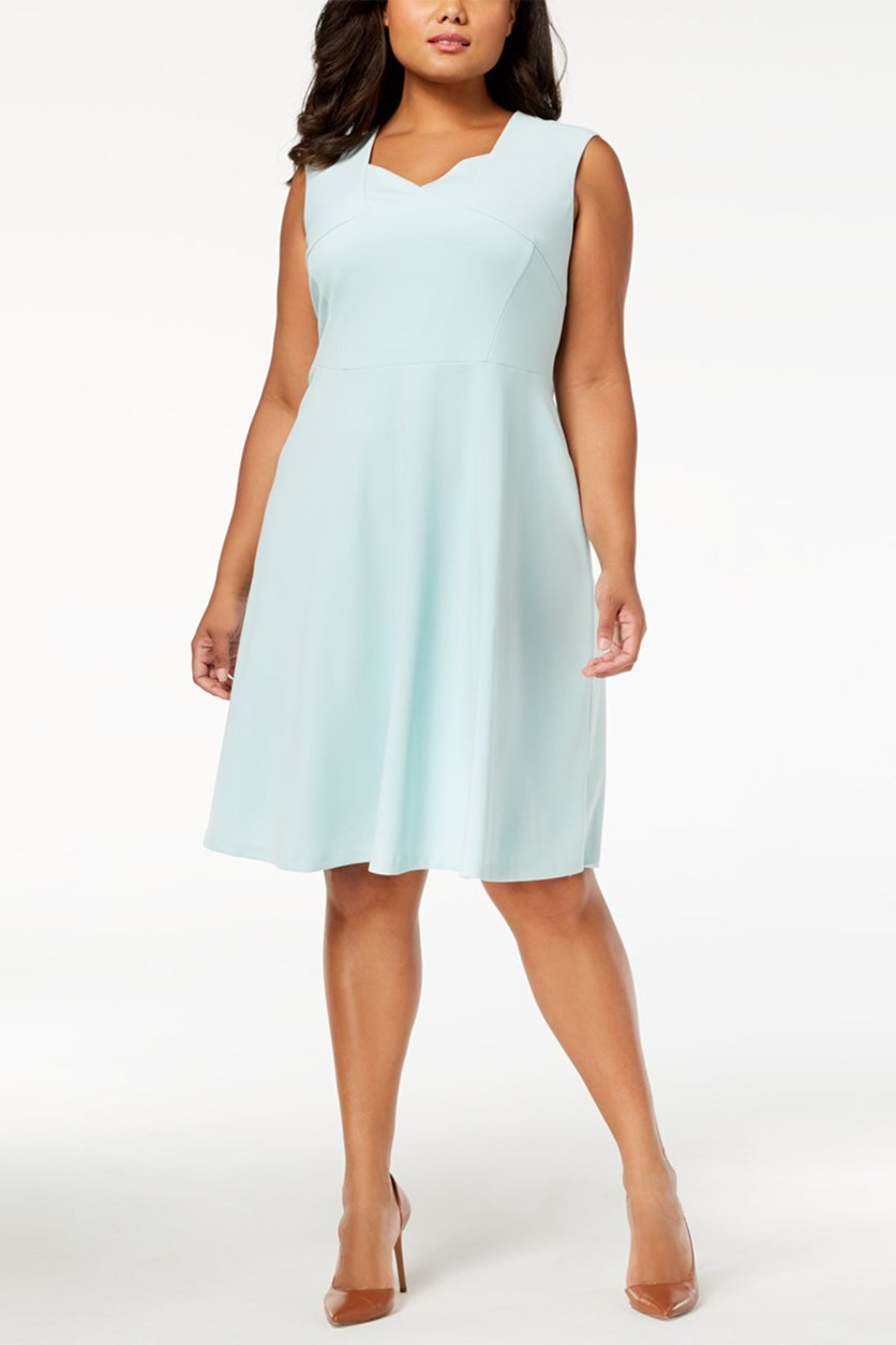 Women Plus Size Scuba Fit Flare Dress, Seaspray