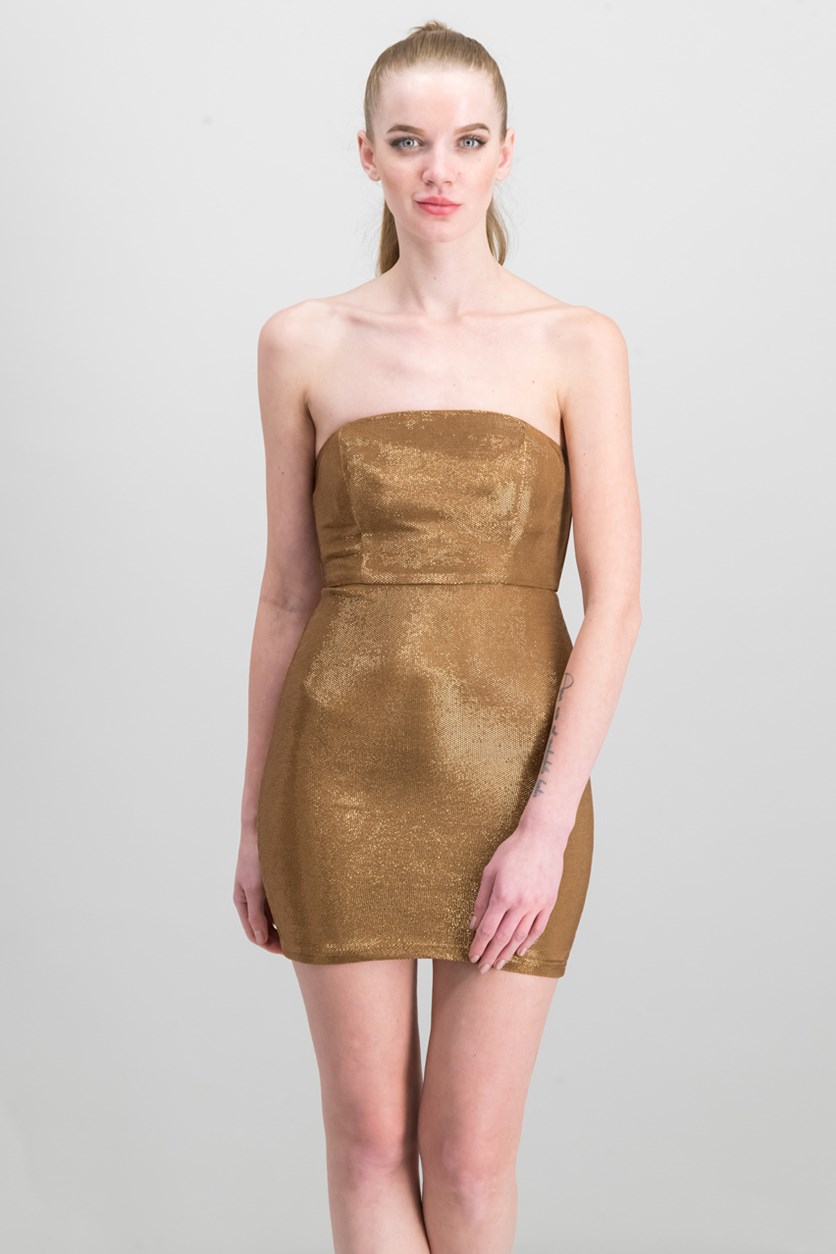 Women's Dress, Metallic Brown