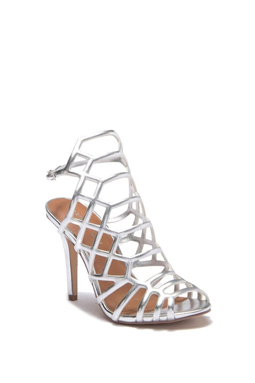 Directt Caged Sandals, Silver Metallic