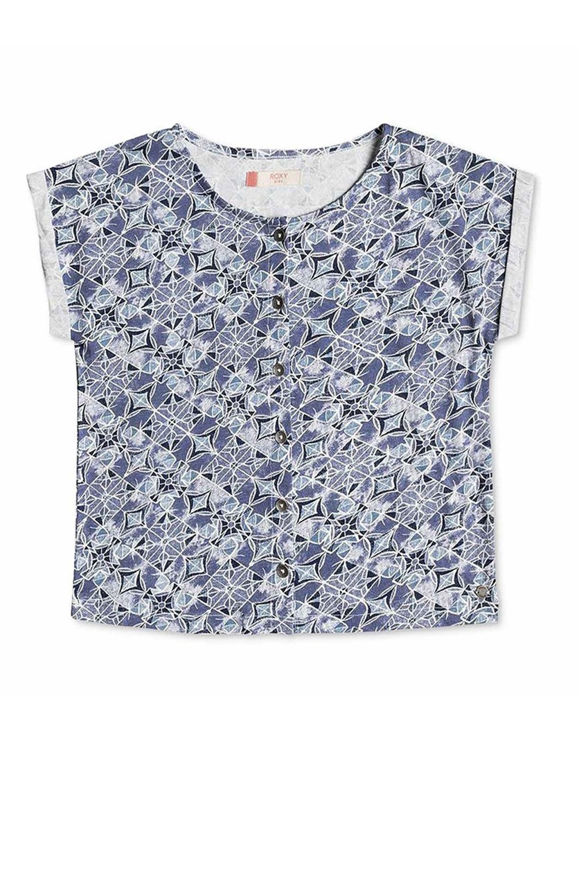 Big Girls Geo-Print Cotton Shirt, Blue