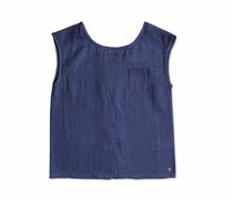Big Girls Sleeveless Cotton Top, Navy Blue