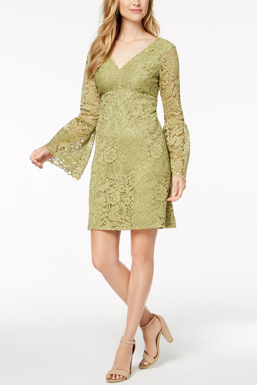 Lace Bell-Sleeve Dress, Olive