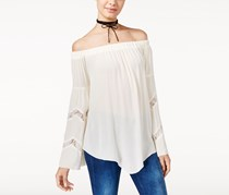 American Rag Cie Women's Off-The-Shoulder Lace-Trim Peasant Top, Off White