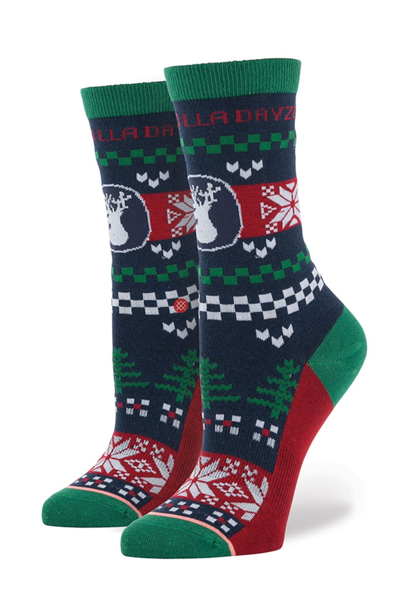 Girls Holladayze Socks, Navy/Red/Green