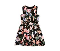 Miss Behave Girls' Pleated Floral Dress, Black