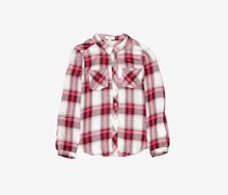 GB girls Gils Plaid Roll Tab Sleeve Top, Maroon Combo