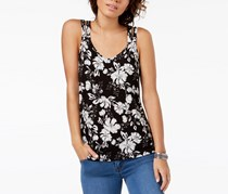 Hippie Rose Juniors Strappy-Back Tank Top, Black Floral