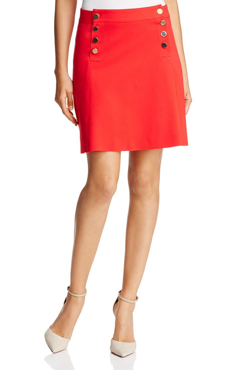 Button Bib Mini Skirt, Red