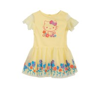 Hello Kitty Baby Girls Floral-Print Sundress, Safety Yellow