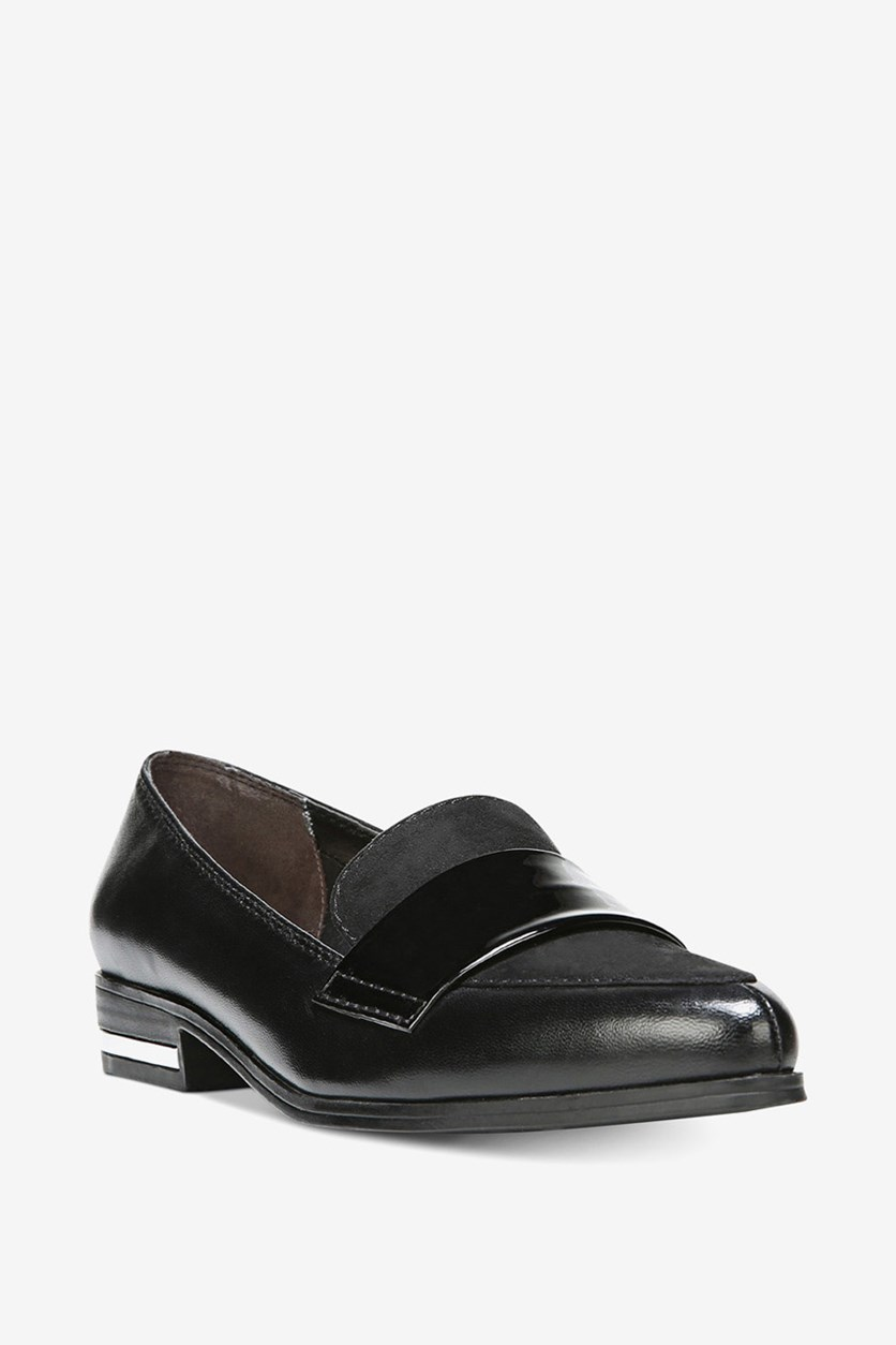 Womens Involve Leather Oxfords Loafers, Black