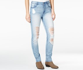 Rewash Juniors' Ripped High-Waist Skinny Jeans, Light Wash