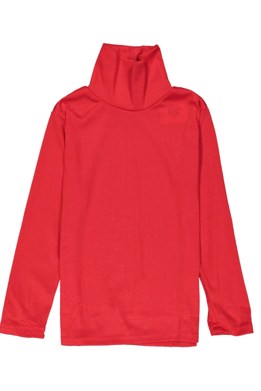 Kid's Girl Turtle Neck Tops, Red