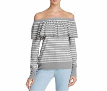 Joie Adinam Off-the-Shoulder Striped Sweater, Grey