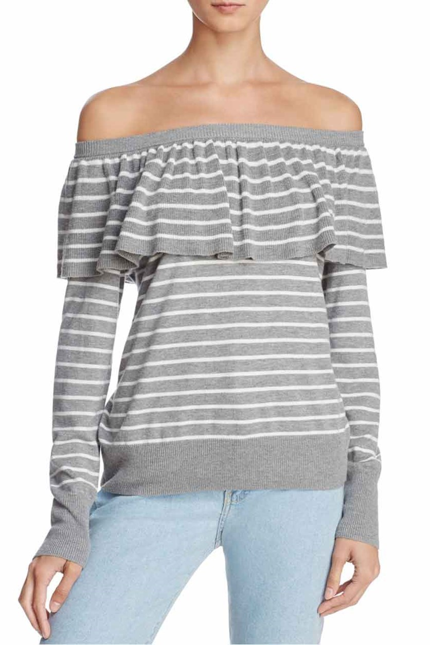 Adinam Off-the-Shoulder Striped Sweater, Grey