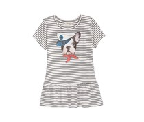 Monteau Big Girls Dog Graphic Striped Peplum Top, Ivory Combo