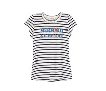 Monteau Girls Striped Printed T-Shirt, Ivory/Navy