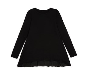 Aqua Girls' Chiffon Back Jersey Top, Black