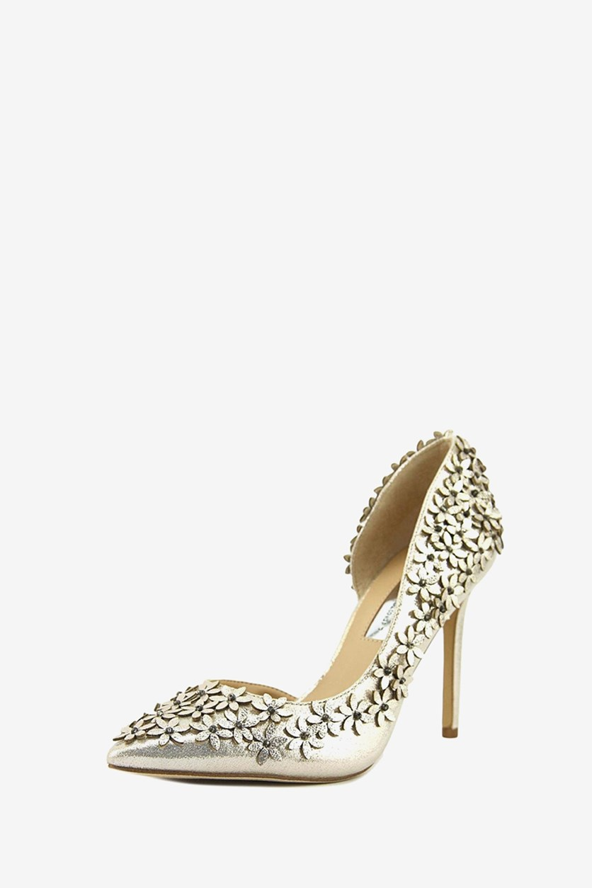 International Concepts Karlay Floral Embellished Pumps, Pearl Gold