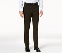 Kenneth Cole Reaction Men's Slim-Fit Stretch Glen Plaid Dress Pants, Brown