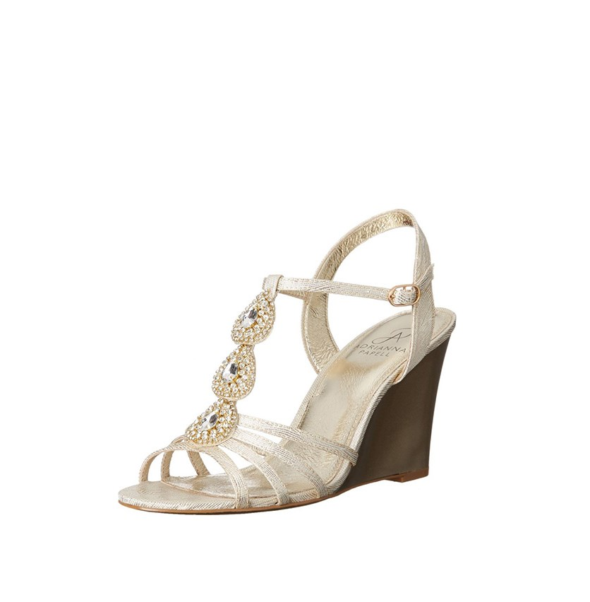 Kristen Evening Wedge Sandals, Pearl