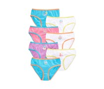 Maidenform Girl's 7-Pack Week Cities Day Underwear, Blue/White