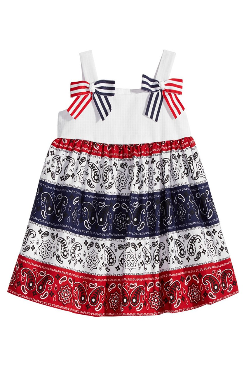 Bandana Dress, White/Red/Navy