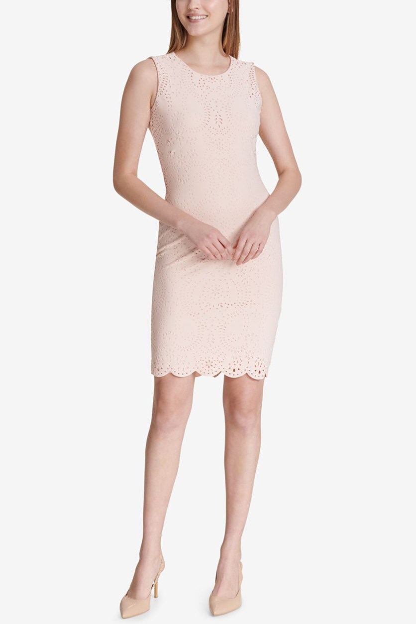 Laser-Cut Scuba Sheath Dress, Blush