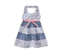 Blueberi Boulevard Baby Girls Tiered Ruffle Dress, Navy/White Combo