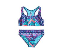 Breaking Waves 2-Pcs. Printed Flounce Bikini, Blue Combo