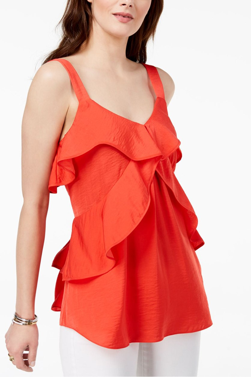 Hammered Satin Ruffle Tank, Poppy Red Orange