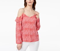 Michael Kors Chain-Link Cold-Shoulder Top, Poppy Red/White