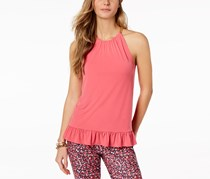 Michael Kors Ruffled Halter Top, Rose Pink