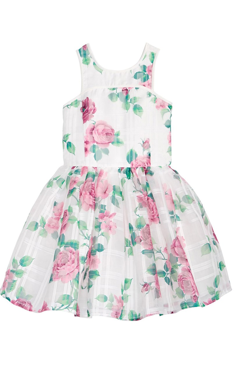 Floral-Print Jacquard Dress, White Floral