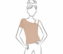 NYTT Women's One Shoulder Sleeve Top, Taupe