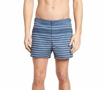 Penguin Men's Volley-Fit Feeder-Stripe Swim Trunks, Vintage Indigo